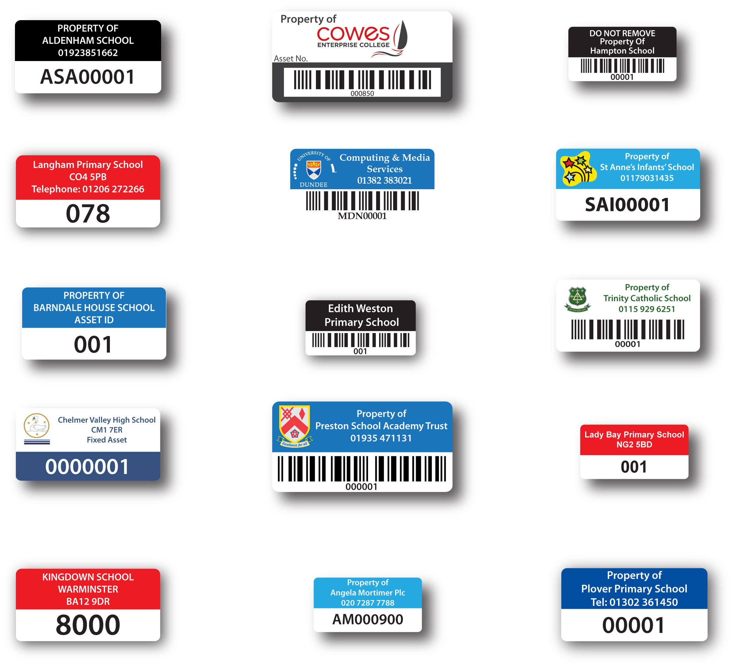 i need good quality security labels asset labels for schools